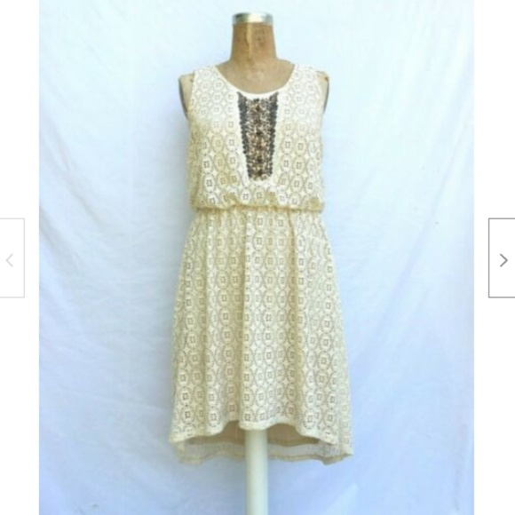 MAURICES Cream Lace Beaded Boho Gypsy Dress 0X 14